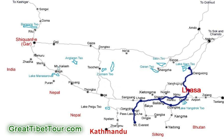 Lhasa Gyantse Shigatse Everest Namtso Group Tour map