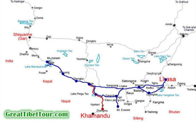 Mt Kailash Tour map