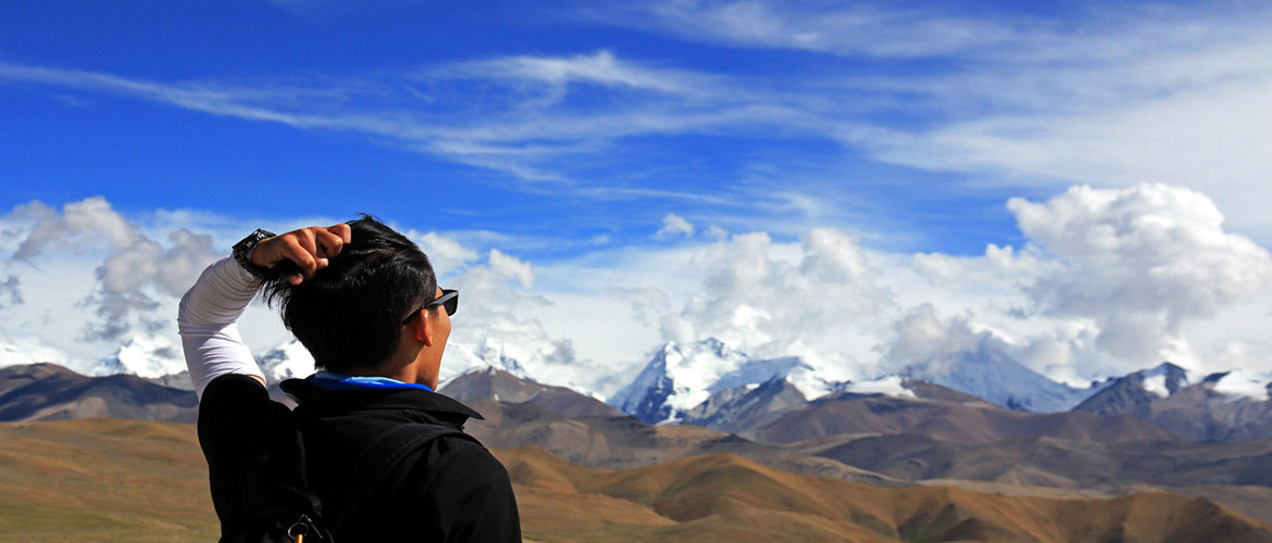 Endless and grand mountains in Tibet.