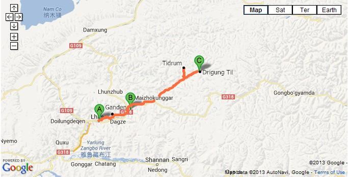 Lhasa-Drigung-Til-Monastery-Tour-Map