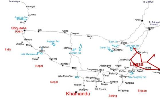Lhasa-Namtso-Tsetang-Tour-Map