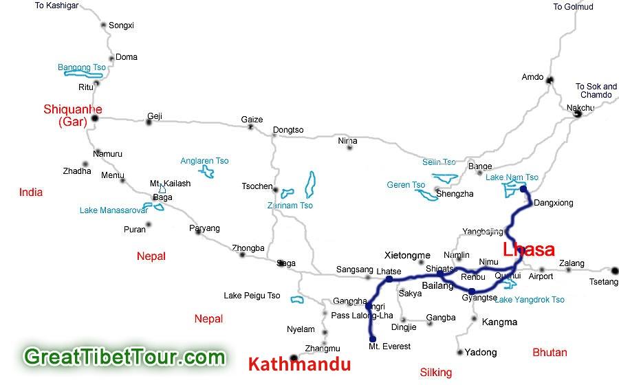 Lhasa-Shigatse-Mt.Everest-Namtso-Tour-Map