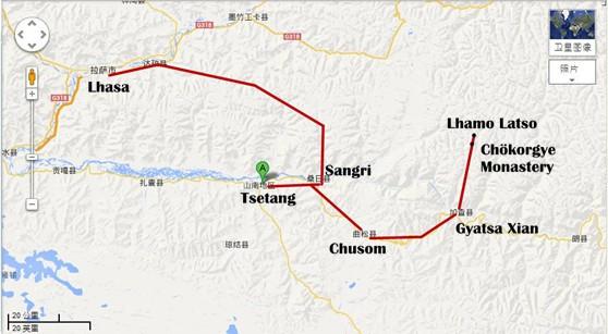 Lhasa-Tsetang-Shigatse-Namtso-Tour-Map