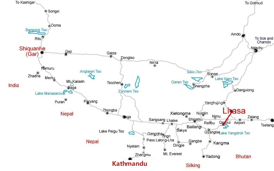 Lhasa-Yamdrotso-Lake-Tour-Map