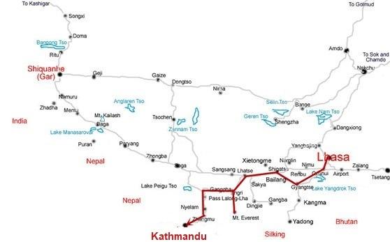 Tibet Everest Nepal Overland Tour Map