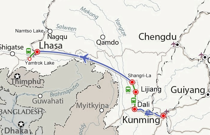 Route map from Kunming to Lhasa.