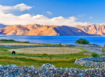 Pangongtso Lake  shows blue uner the sky.