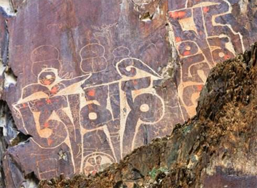 Petroglyph in Tibet usually recorded scripture or poetry.