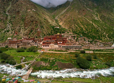 Tsurphu Monastery is about 65 km west of Lhasa.
