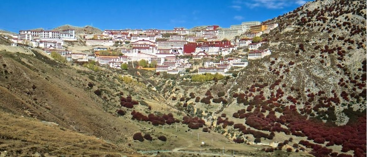 Many monasteries are built on the half way up the hill.