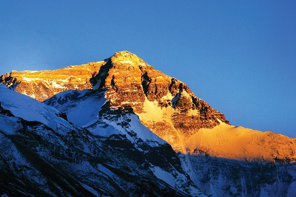 Golden summit of Mt. Everest.