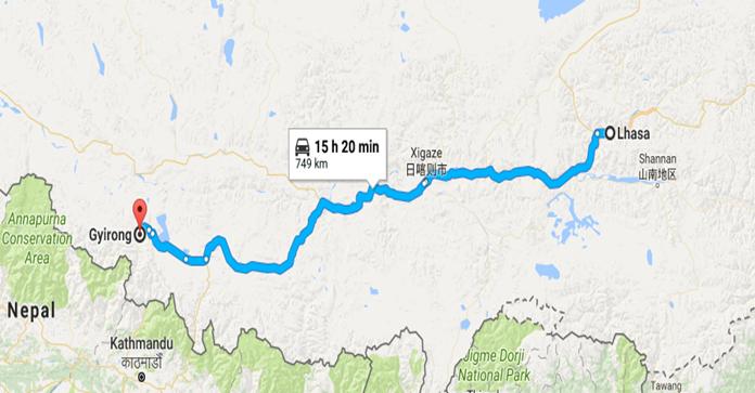 Lhasa-Kathmandu-Tour map