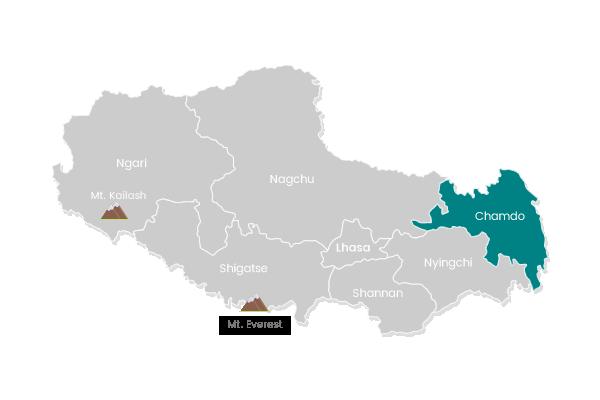 The map of Qamdo in Tibet