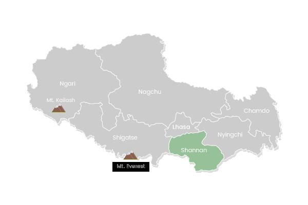 The map of Lhoka in Tibet.