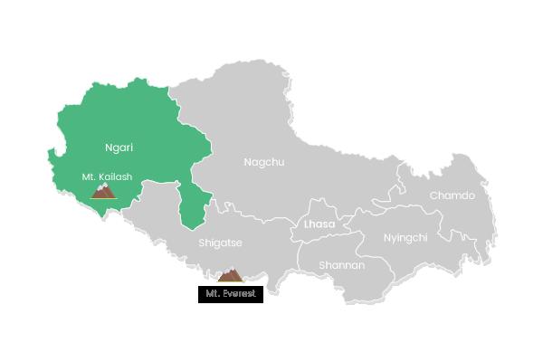 The map of Ngari in Tibet