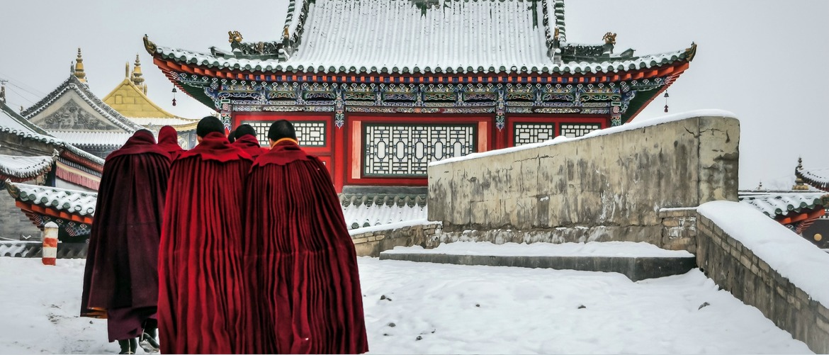 Monks in the snow
