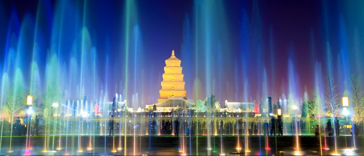 beautiful Bid Wild Goose Pagoda musical fountain Square