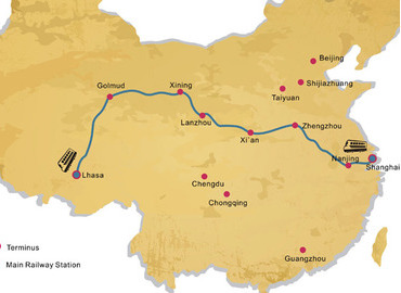 Shanghai to Lhasa train map