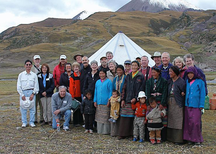 a group of senior travelers in Tibet.