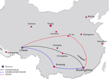 There's only one direct flight from Guangzhou to Tibet currently.