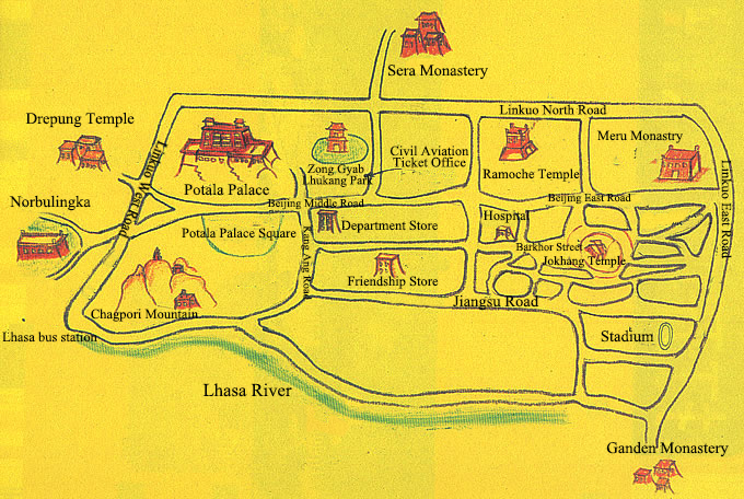 Lhasa Attractions Map