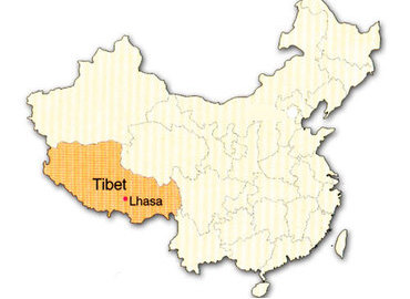 From this map, we can know that Tibet is the second largest region of China.