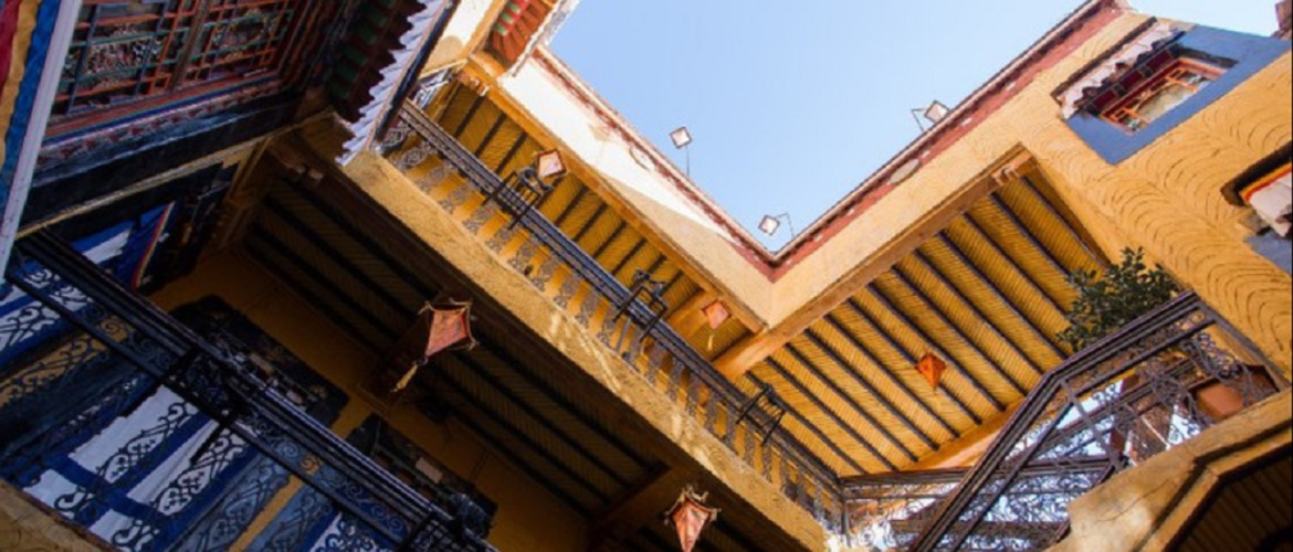 The open patio of the house of Shambahala, you may see the Tibetan style around the whole hotel.