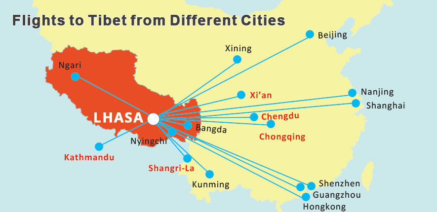 Flights to Lhasa from mainland cities