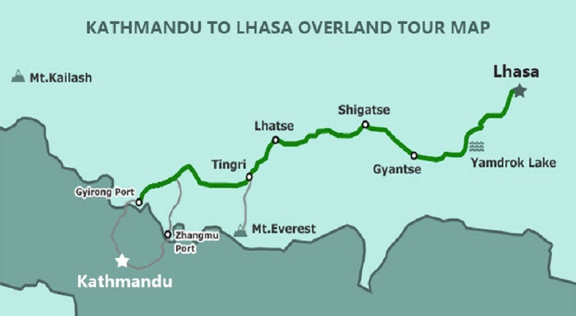 Kathmandu to Lhasa overland trip map.