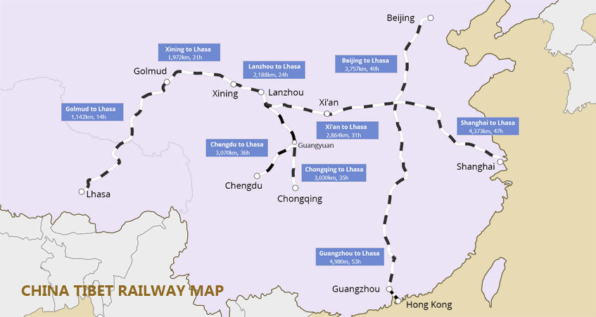China Tibet railway map