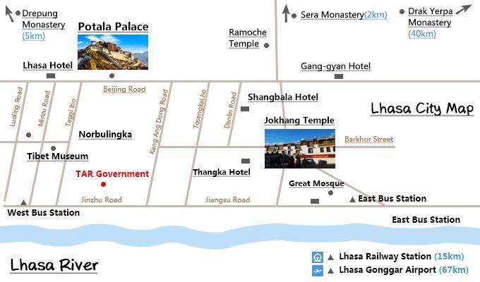 Scenic spots in Lhasa.
