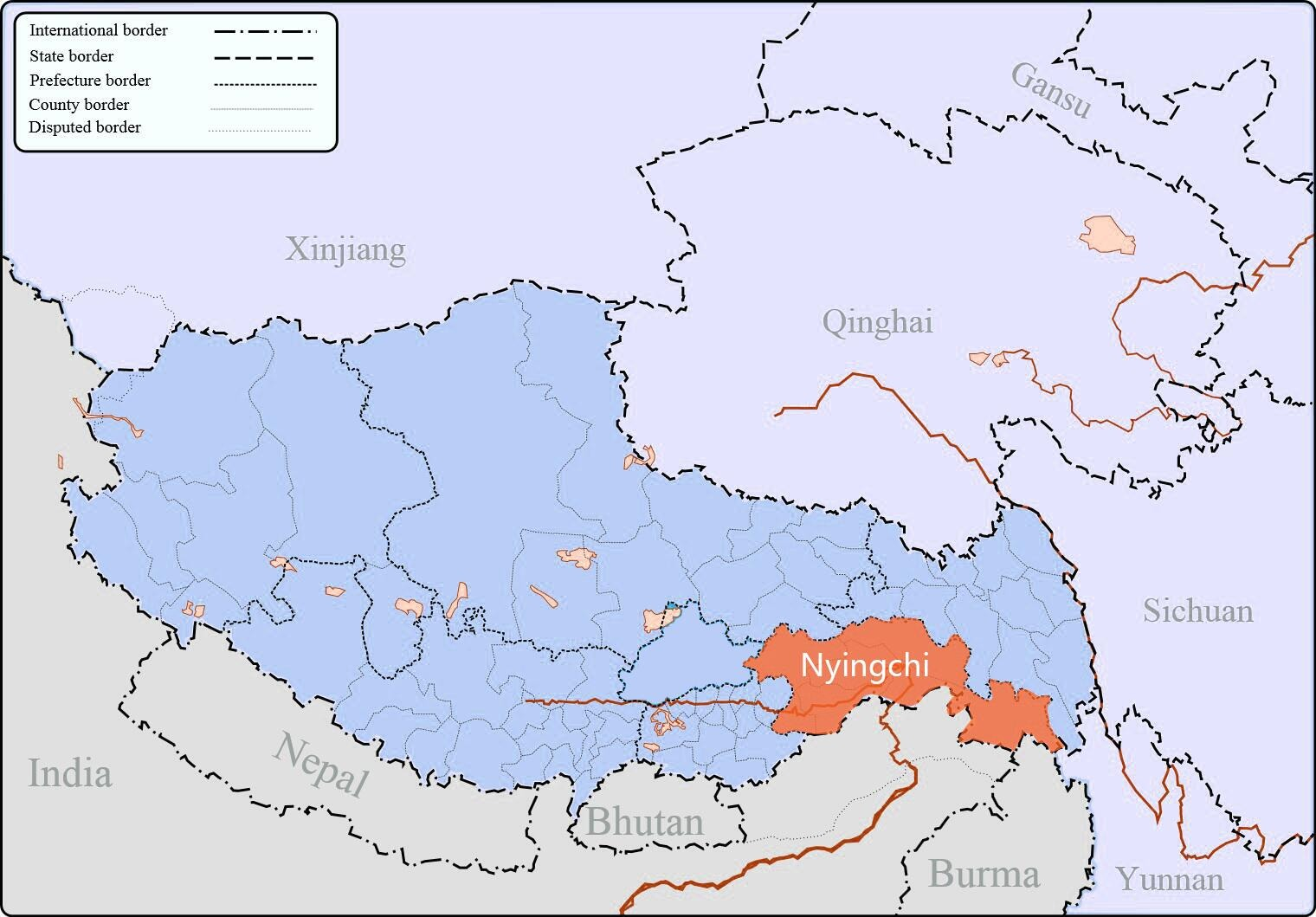 Nyingchi in Tibet map.