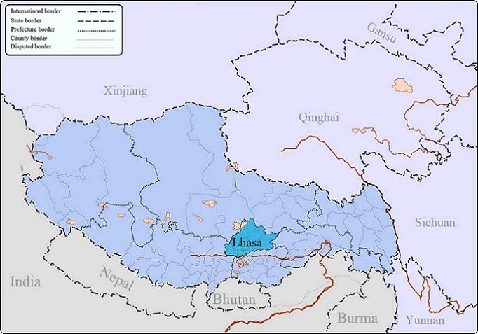 Lhasa in Tibet map.