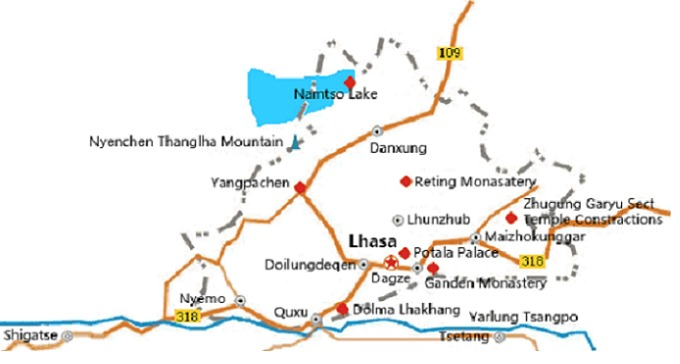 Main attractions in and around Lhasa city.