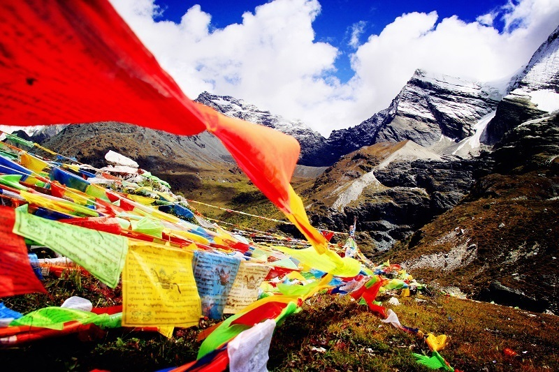 Prayer flags can be seen in Tibet here and there.