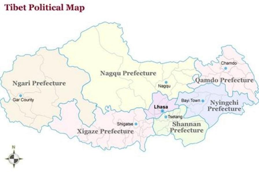 tibet political map