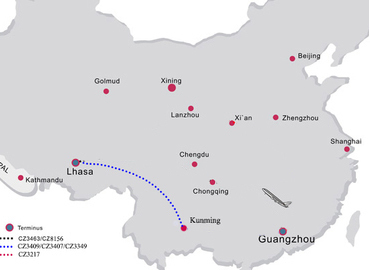 flight route from Kunming to Lhasa