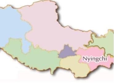 Nyingchi on Tibet map