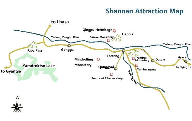 The distribution of major attractions in Shannan.