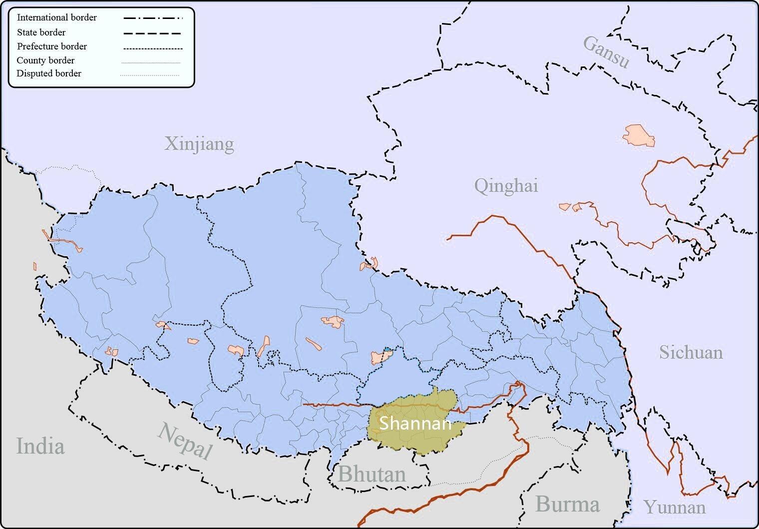 Shannan in Tibet map.