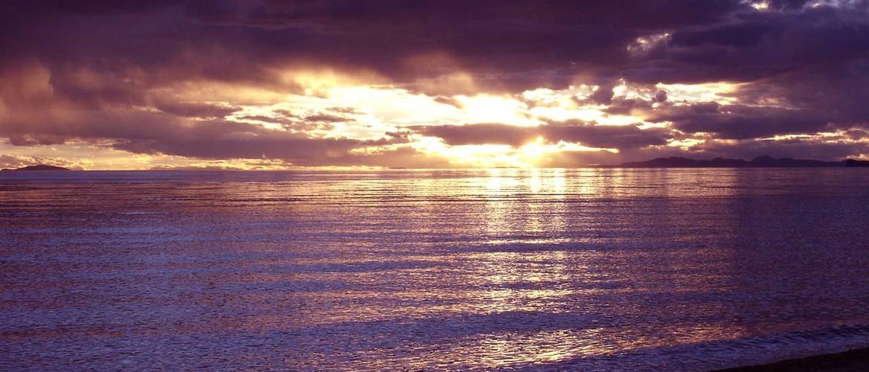 Sunset scenery of Cona Lake.