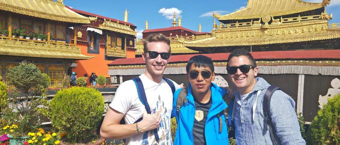 Our tourists and tour guide at Jokhang Temple in Lhasa.