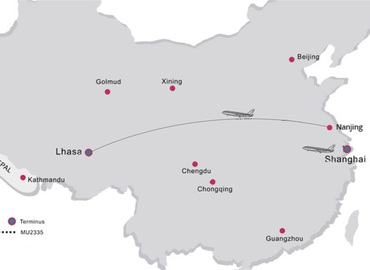 See the flight route from Nanjing to Lhasa on