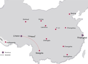 See the flight route from Shangri-la to Lhasa.