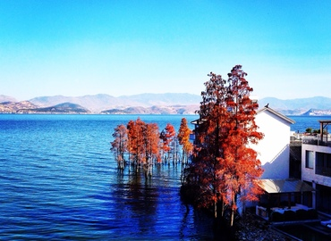 See blue see, clear sky, and Romantic theme at Erhai.