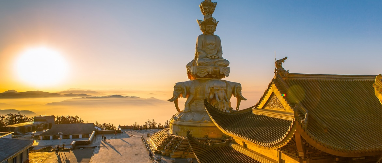 Sunrise scene of the golden summit.