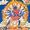 Chakrasamvara is usually depicted with great accouterments that depict his divine powers.