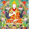 The Tsongkhapa Thangka depicts blessings coming down from heaven.