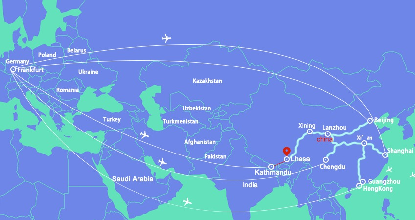 Air routes from Frankfurt to Tibet