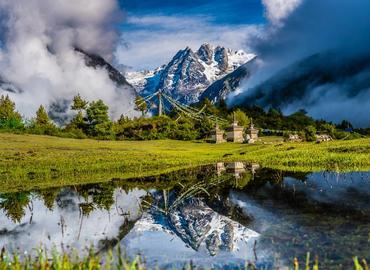 See snow-covered mountain and crystal-alike lake at Gyirong Valley.